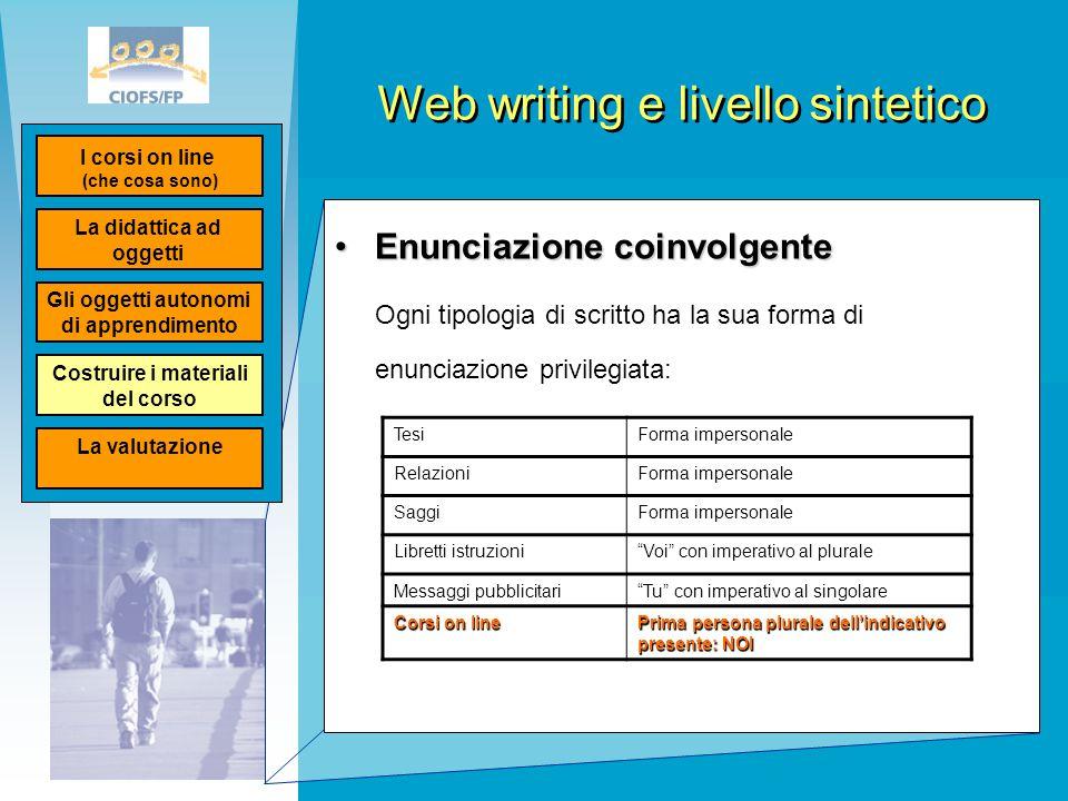 Web writing e livello sintetico Enunciazione coinvolgenteEnunciazione coinvolgente Ogni tipologia di scritto ha la sua forma di enunciazione privilegi