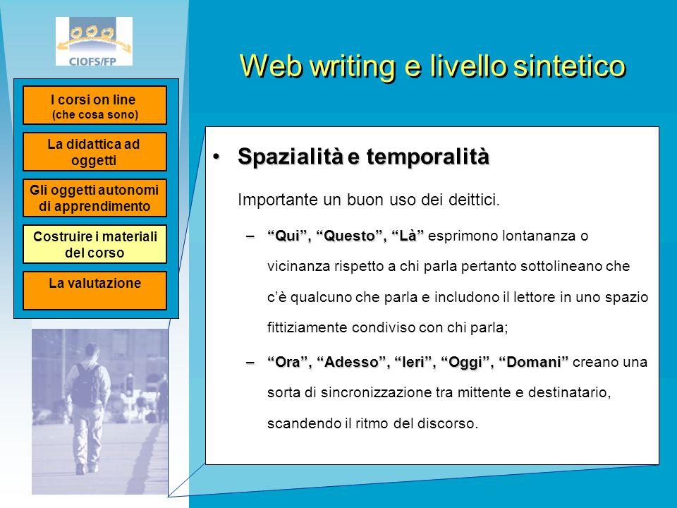 """Web writing e livello sintetico Spazialità e temporalitàSpazialità e temporalità Importante un buon uso dei deittici. –""""Qui"""", """"Questo"""", """"Là"""" –""""Qui"""", """""""