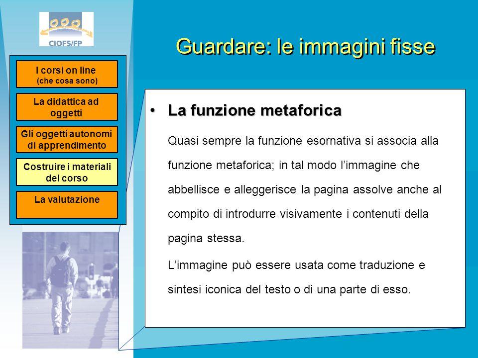 Guardare: le immagini fisse La funzione metaforicaLa funzione metaforica Quasi sempre la funzione esornativa si associa alla funzione metaforica; in t