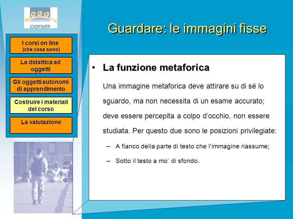 Guardare: le immagini fisse La funzione metaforicaLa funzione metaforica Una immagine metaforica deve attirare su di sé lo sguardo, ma non necessita d