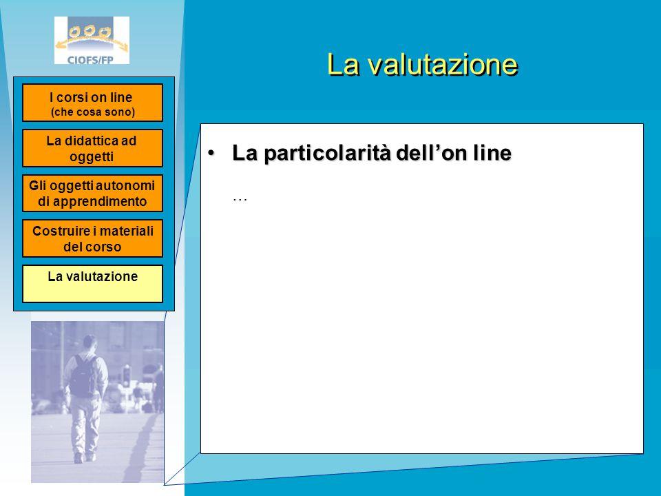 La particolarità dell'on lineLa particolarità dell'on line … La didattica ad oggetti I corsi on line (che cosa sono) Gli oggetti autonomi di apprendim