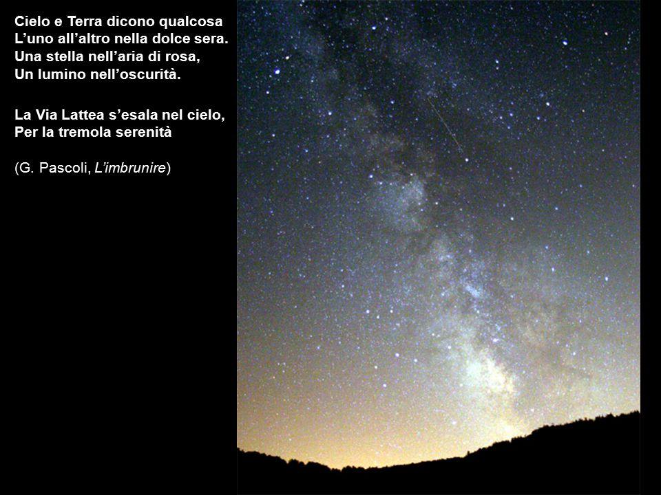 La Via Lattea s'esala nel cielo, Per la tremola serenità (G. Pascoli, L'imbrunire) Cielo e Terra dicono qualcosa L'uno all'altro nella dolce sera. Una