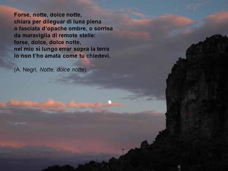 Forse, notte, dolce notte, chiara per dileguar di luna piena o fasciata d'opache ombre, o sorrisa da maraviglia di remote stelle: forse, dolce, dolce