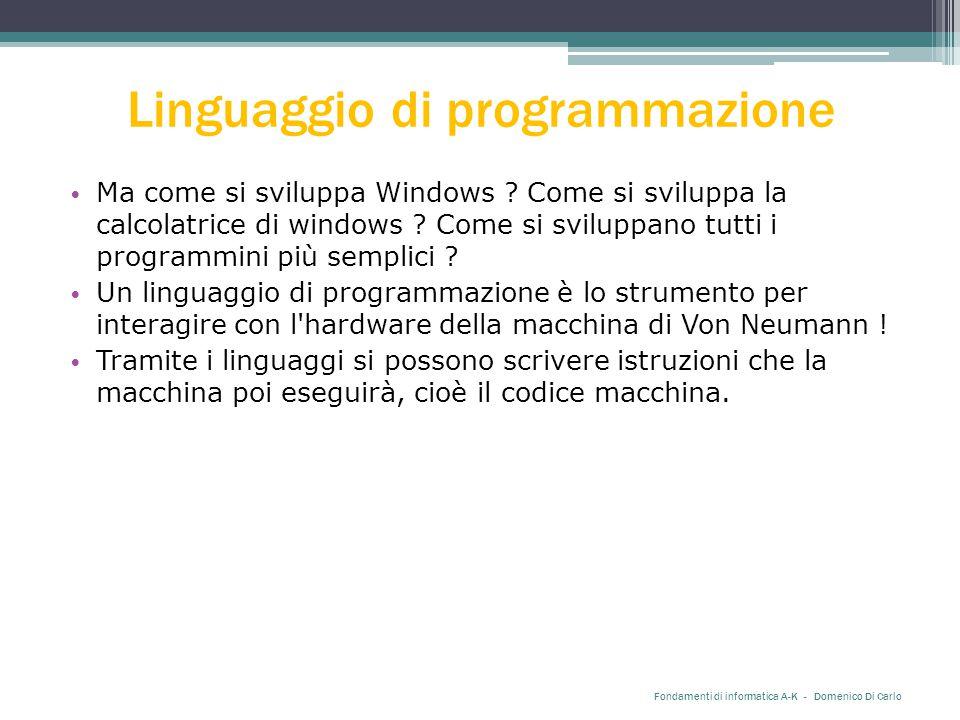 Linguaggio di programmazione Ma come si sviluppa Windows .