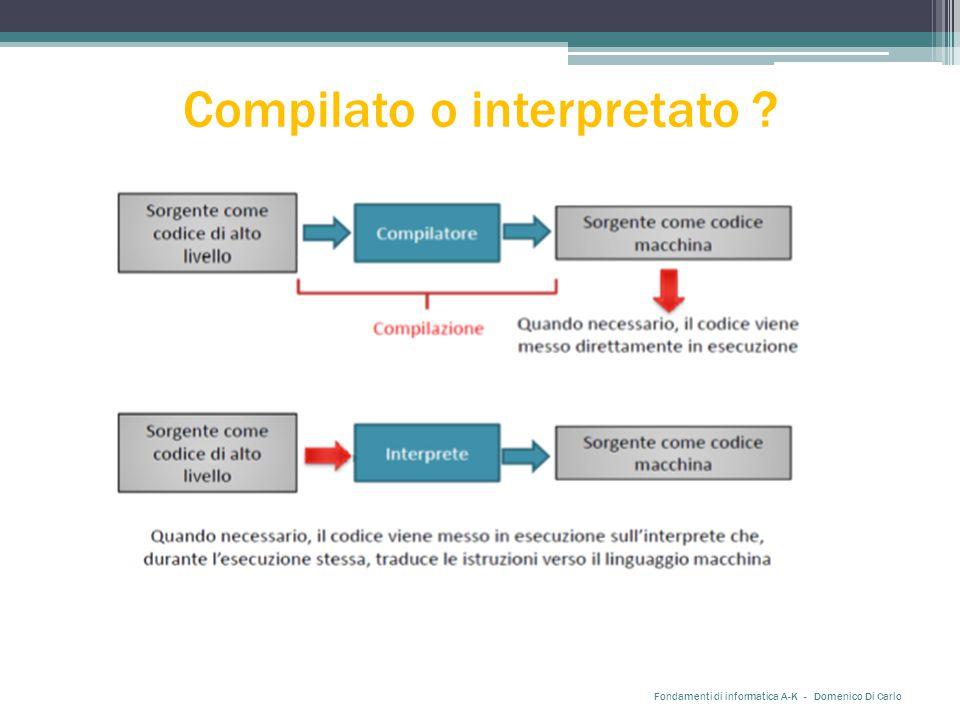 Compilato o interpretato Fondamenti di informatica A-K - Domenico Di Carlo