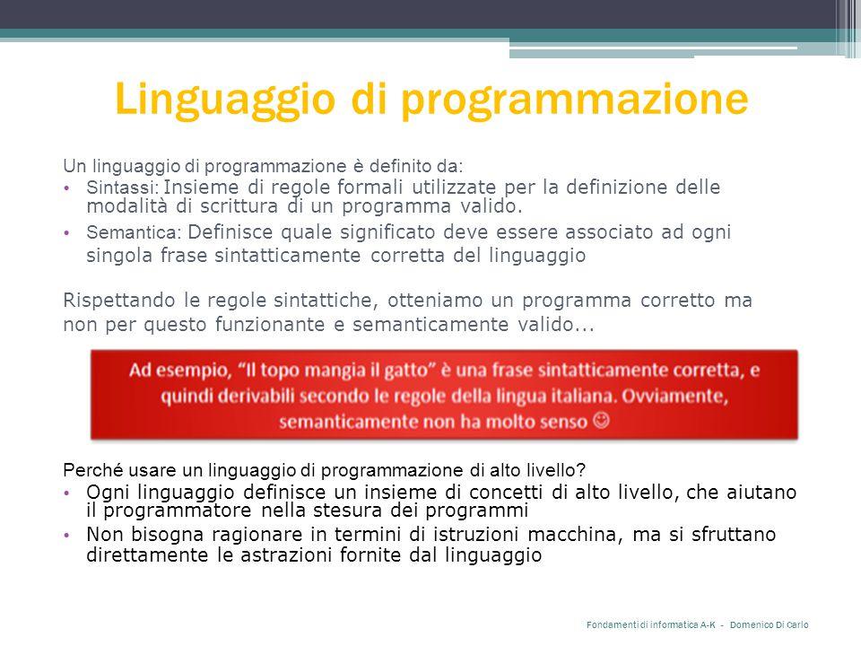 Linguaggio di programmazione Fondamenti di informatica A-K - Domenico Di Carlo Un linguaggio di programmazione è definito da: Sintassi: Insieme di regole formali utilizzate per la definizione delle modalità di scrittura di un programma valido.
