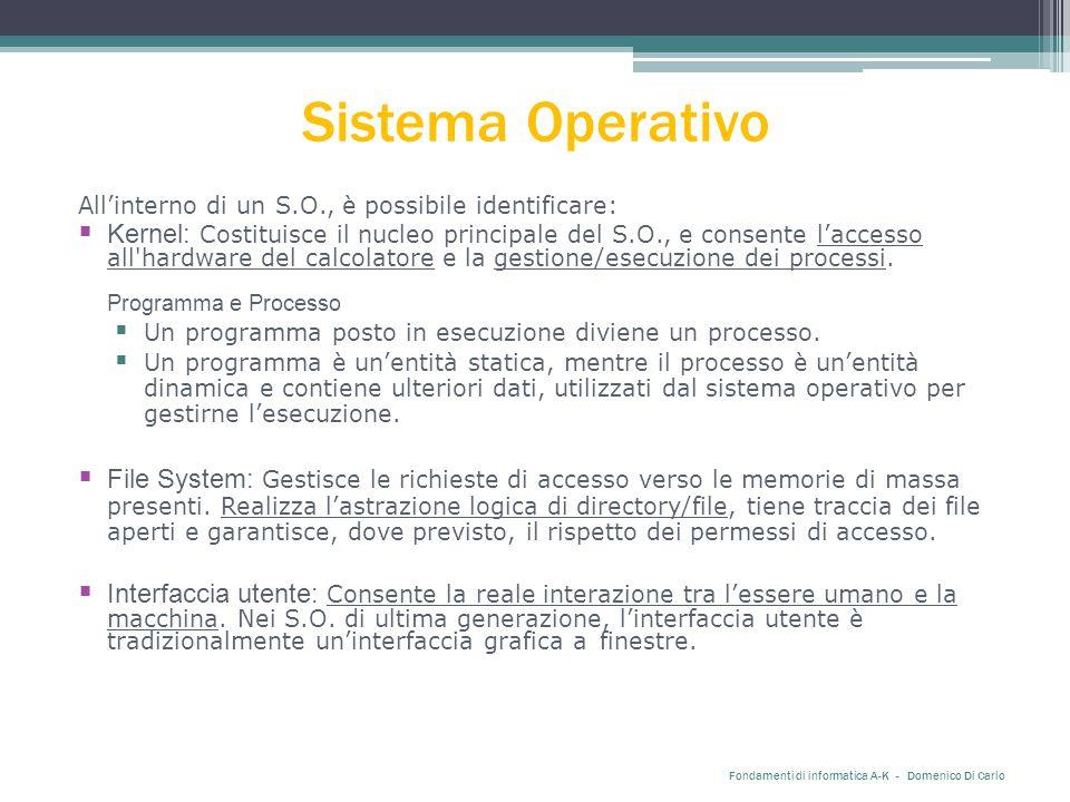 Sistema Operativo All'interno di un S.O., è possibile identificare:  Kernel: Costituisce il nucleo principale del S.O., e consente l'accesso all hardware del calcolatore e la gestione/esecuzione dei processi.