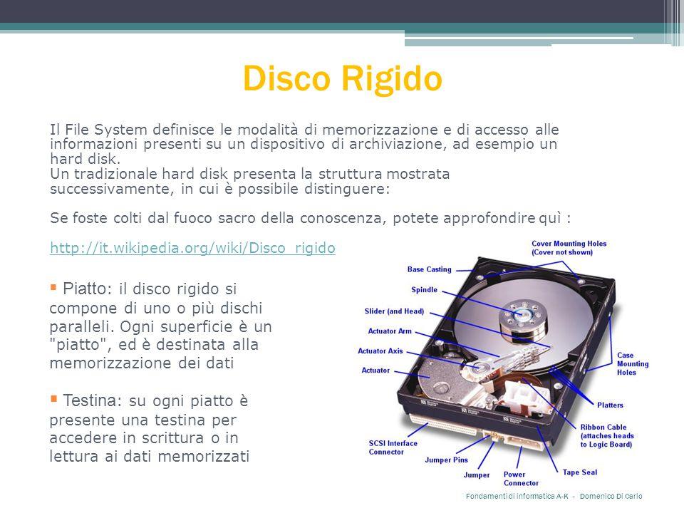 Disco Rigido Il File System definisce le modalità di memorizzazione e di accesso alle informazioni presenti su un dispositivo di archiviazione, ad esempio un hard disk.