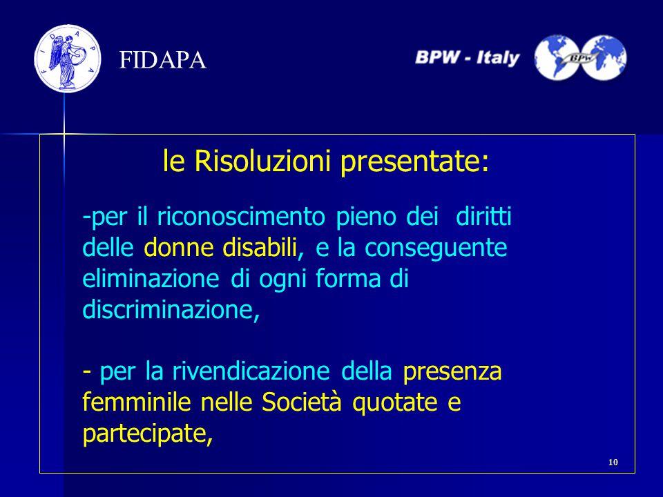 le Risoluzioni presentate: -per il riconoscimento pieno dei diritti delle donne disabili, e la conseguente eliminazione di ogni forma di discriminazio