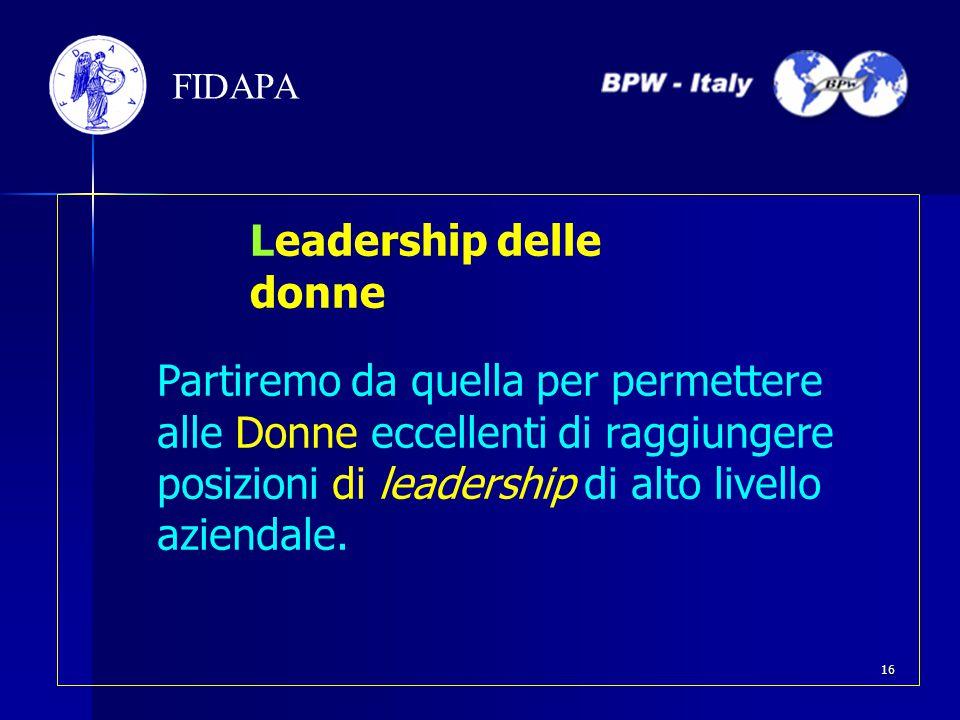 Partiremo da quella per permettere alle Donne eccellenti di raggiungere posizioni di leadership di alto livello aziendale. FIDAPA Leadership delle don