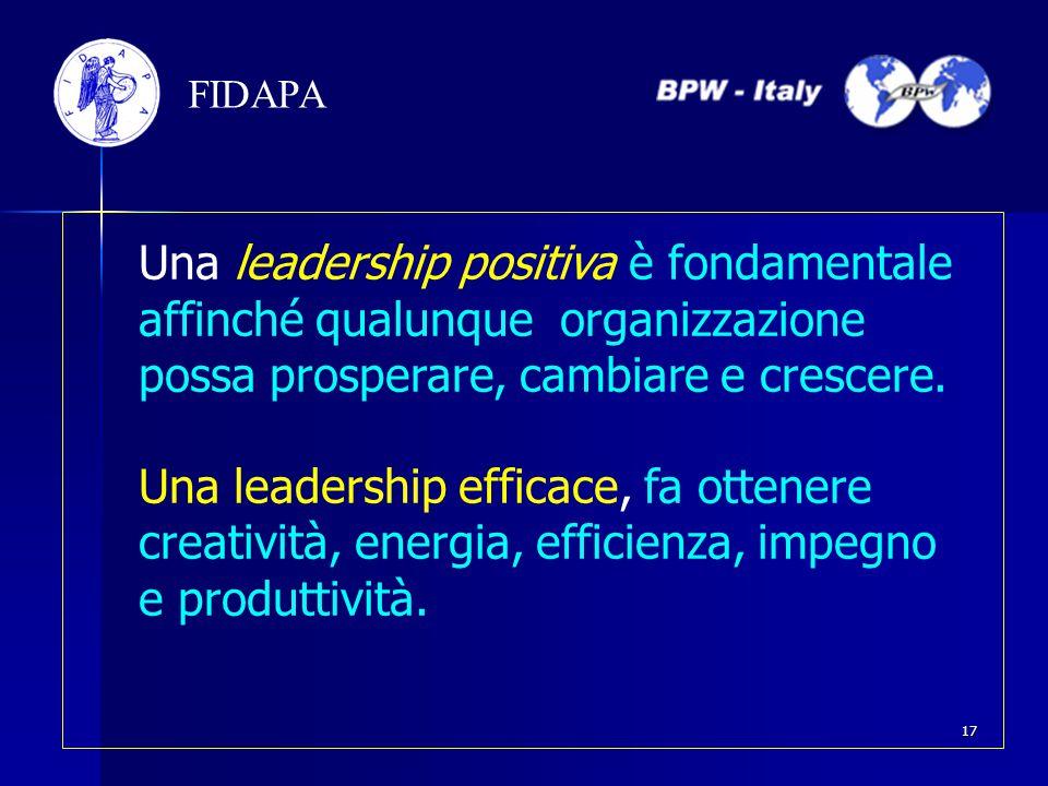 Una leadership positiva è fondamentale affinché qualunque organizzazione possa prosperare, cambiare e crescere. Una leadership efficace, fa ottenere c