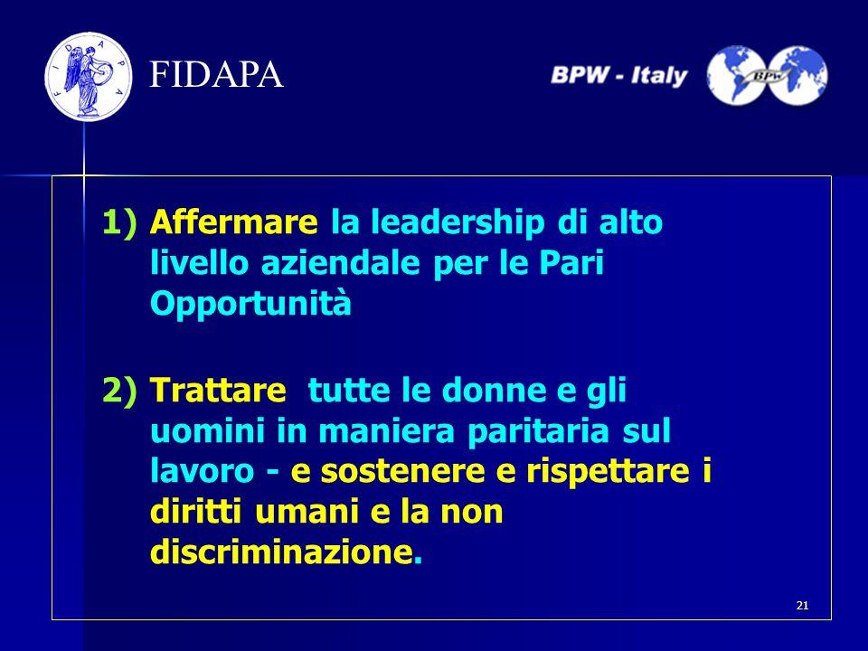 FIDAPA 1)Affermare la leadership di alto livello aziendale per le Pari Opportunità 2)Trattare tutte le donne e gli uomini in maniera paritaria sul lav