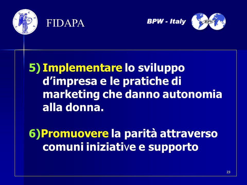 FIDAPA 5)Implementare lo sviluppo d'impresa e le pratiche di marketing che danno autonomia alla donna. 6)Promuovere la parità attraverso comuni inizia