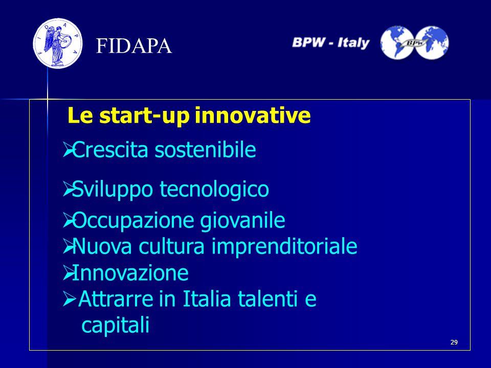 Le start-up innovative  Crescita sostenibile  Sviluppo tecnologico  Occupazione giovanile  Nuova cultura imprenditoriale  Innovazione  Attrarre