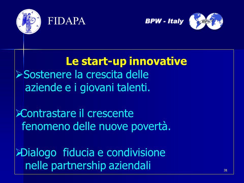 Le start-up innovative  Sostenere la crescita delle aziende e i giovani talenti.  Contrastare il crescente fenomeno delle nuove povertà.  Dialogo f