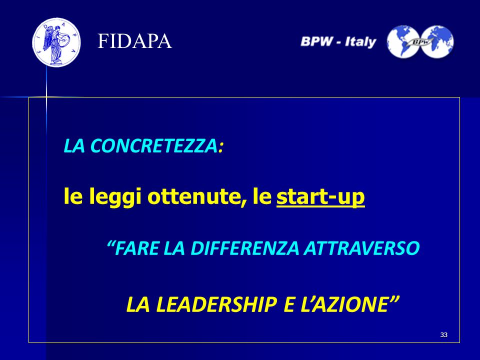 LA CONCRETEZZA: le leggi ottenute, le start-up FARE LA DIFFERENZA ATTRAVERSO LA LEADERSHIP E L'AZIONE FIDAPA 33