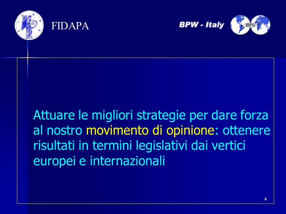 Attuare le migliori strategie per dare forza al nostro movimento di opinione: ottenere risultati in termini legislativi dai vertici europei e internaz