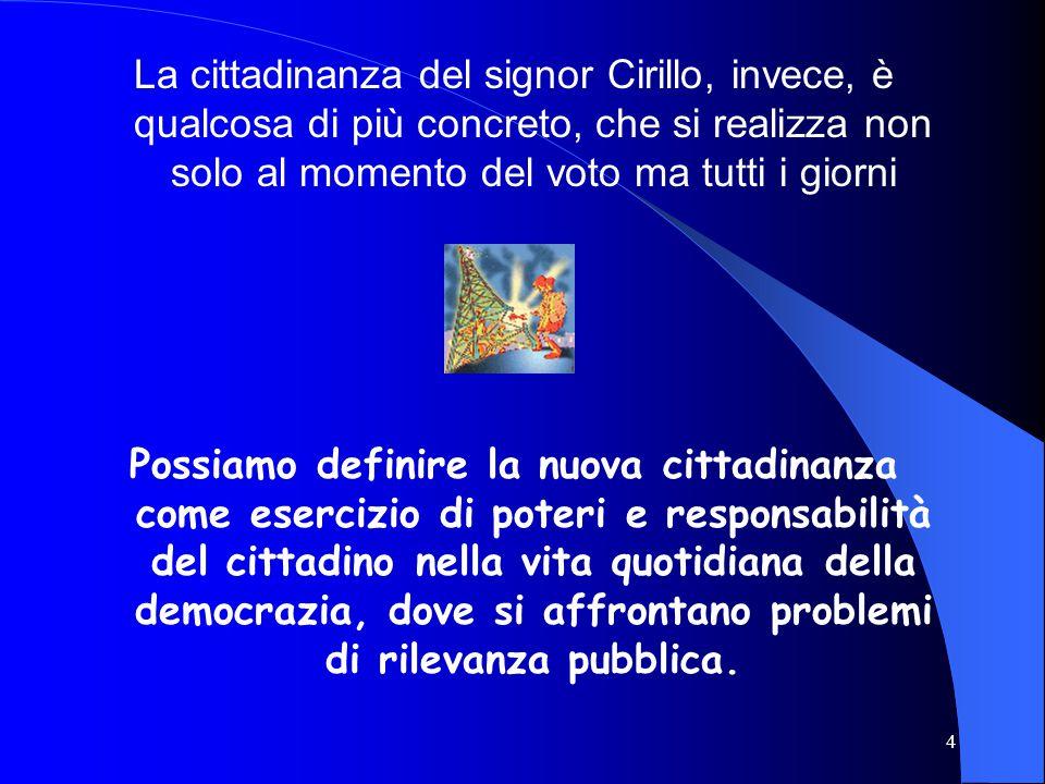 4 La cittadinanza del signor Cirillo, invece, è qualcosa di più concreto, che si realizza non solo al momento del voto ma tutti i giorni Possiamo definire la nuova cittadinanza come esercizio di poteri e responsabilità del cittadino nella vita quotidiana della democrazia, dove si affrontano problemi di rilevanza pubblica.
