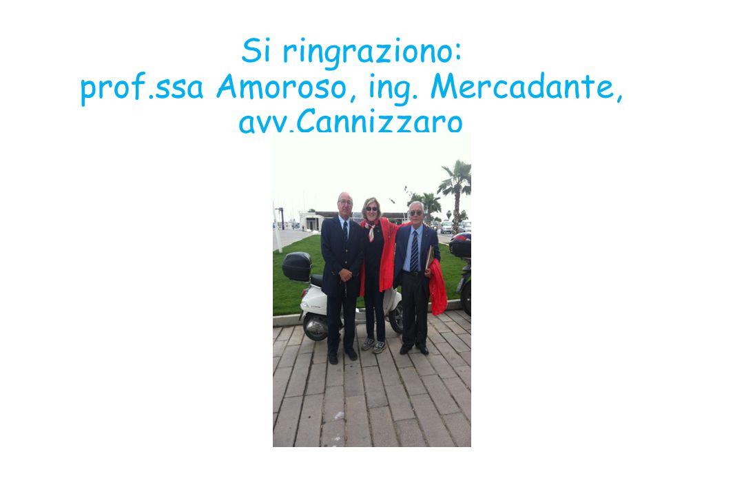 Si ringraziono: prof.ssa Amoroso, ing. Mercadante, avv.Cannizzaro