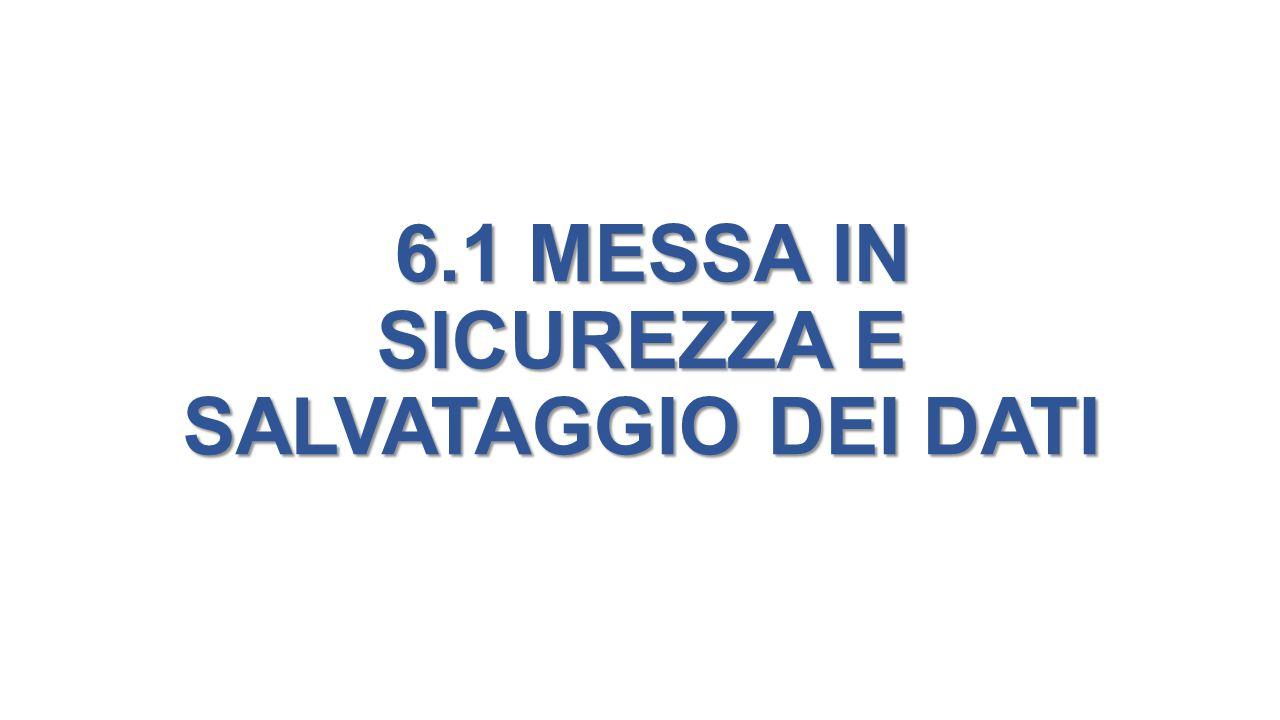 6.1 MESSA IN SICUREZZA E SALVATAGGIO DEI DATI 6.1 MESSA IN SICUREZZA E SALVATAGGIO DEI DATI