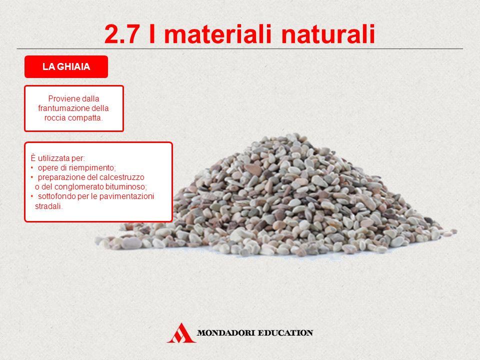 2.6 I materiali naturali È utilizzata per la formazione delle malte e dei calcestruzzi. Roccia sedimentaria sciolta, proveniente dall'erosione di altr