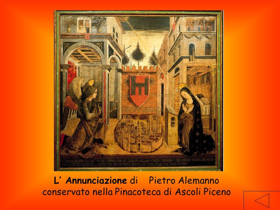 L' Annunciazione di Pietro Alemanno conservato nella Pinacoteca di Ascoli Piceno