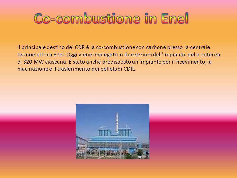 Il principale destino del CDR è la co-combustione con carbone presso la centrale termoelettrica Enel. Oggi viene impiegato in due sezioni dell'impiant