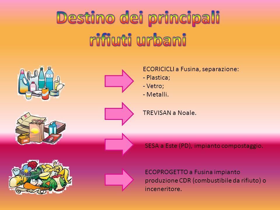 ECORICICLI a Fusina, separazione: - Plastica; - Vetro; - Metalli. TREVISAN a Noale. SESA a Este (PD), impianto compostaggio. ECOPROGETTO a Fusina impi