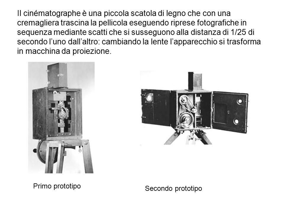 Il cinématographe è una piccola scatola di legno che con una cremagliera trascina la pellicola eseguendo riprese fotografiche in sequenza mediante sca