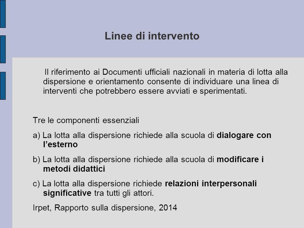 Linee di intervento Il riferimento ai Documenti ufficiali nazionali in materia di lotta alla dispersione e orientamento consente di individuare una li