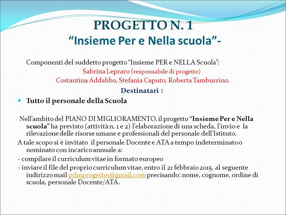 """Componenti del suddetto progetto """"Insieme PER e NELLA Scuola"""": Sabrina Lepraro ( responsabile di progetto) Costantina Addabbo, Stefania Caputo, Robert"""