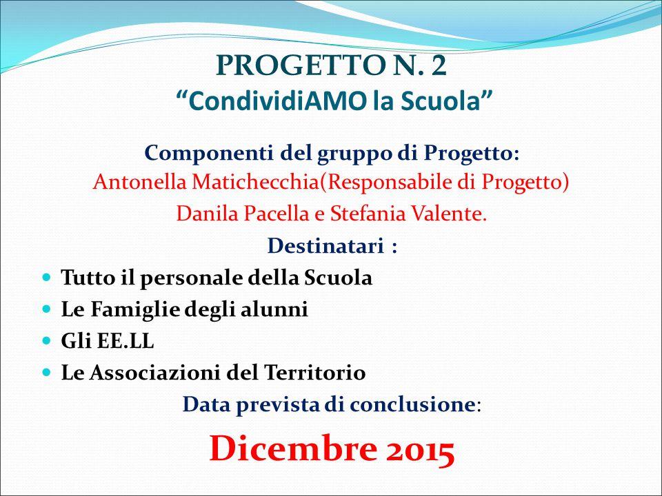 """PROGETTO N. 2 """"CondividiAMO la Scuola"""" Componenti del gruppo di Progetto: Antonella Matichecchia(Responsabile di Progetto) Danila Pacella e Stefania V"""