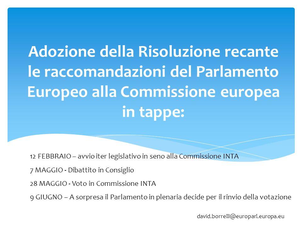 Adozione della Risoluzione recante le raccomandazioni del Parlamento Europeo alla Commissione europea in tappe: 12 FEBBRAIO – avvio iter legislativo i