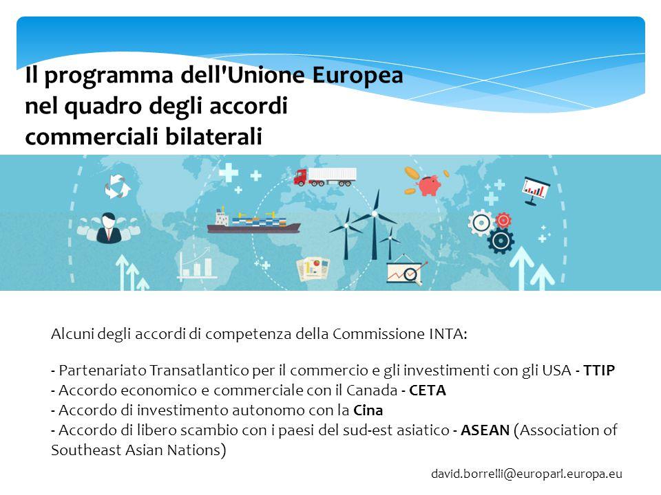 Il programma dell'Unione Europea nel quadro degli accordi commerciali bilaterali - Partenariato Transatlantico per il commercio e gli investimenti con