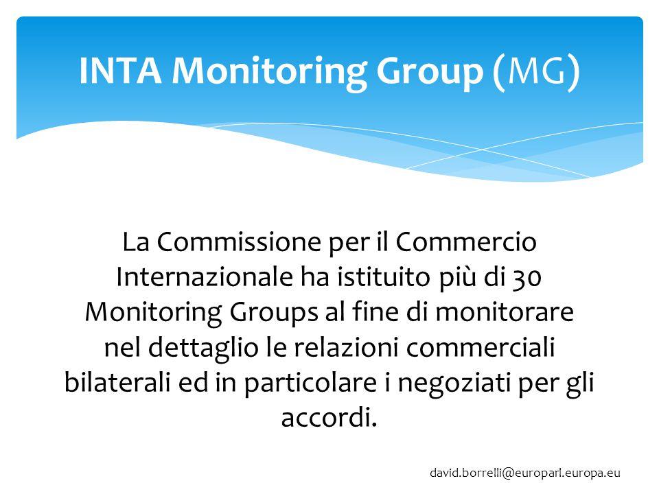 INTA Monitoring Group (MG) La Commissione per il Commercio Internazionale ha istituito più di 30 Monitoring Groups al fine di monitorare nel dettaglio le relazioni commerciali bilaterali ed in particolare i negoziati per gli accordi.
