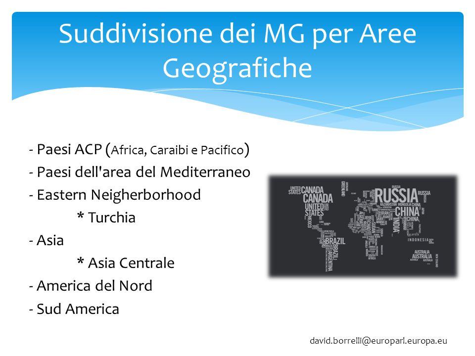 Suddivisione dei MG per Aree Geografiche - Paesi ACP ( Africa, Caraibi e Pacifico ) - Paesi dell area del Mediterraneo - Eastern Neigherborhood * Turchia - Asia * Asia Centrale - America del Nord - Sud America david.borrelli@europarl.europa.eu