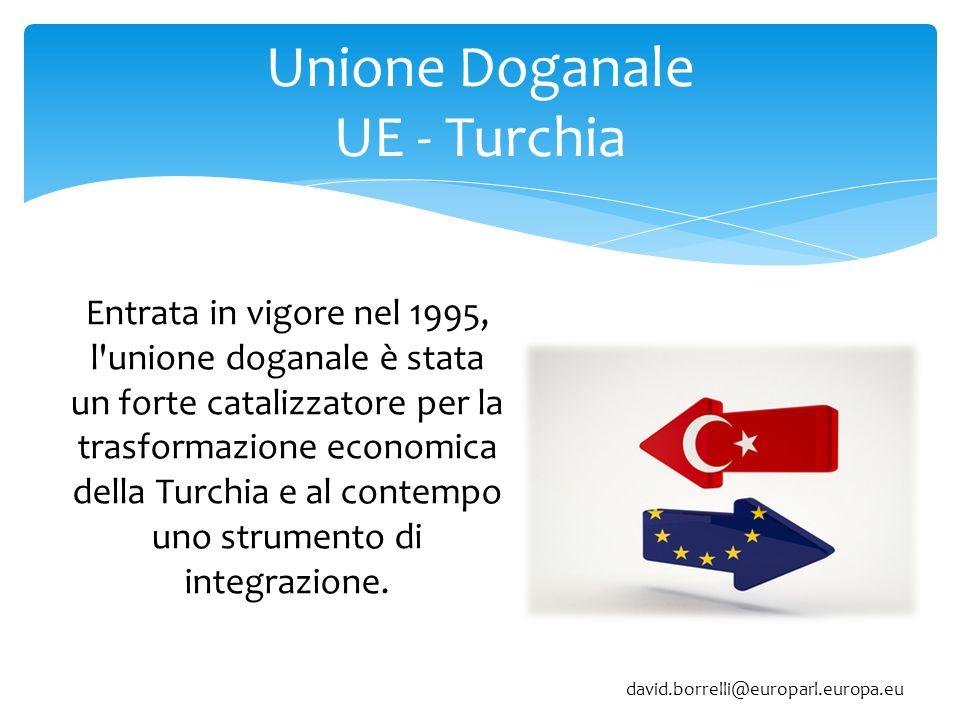 Unione Doganale UE - Turchia Entrata in vigore nel 1995, l unione doganale è stata un forte catalizzatore per la trasformazione economica della Turchia e al contempo uno strumento di integrazione.