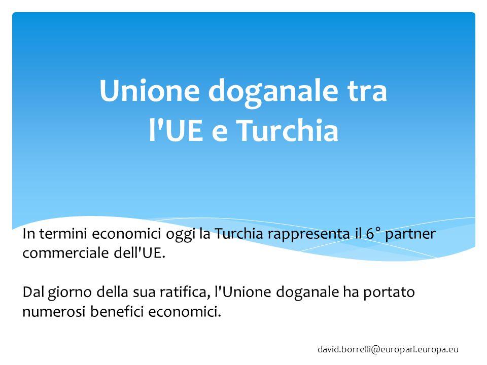 Unione doganale tra l UE e Turchia In termini economici oggi la Turchia rappresenta il 6° partner commerciale dell UE.