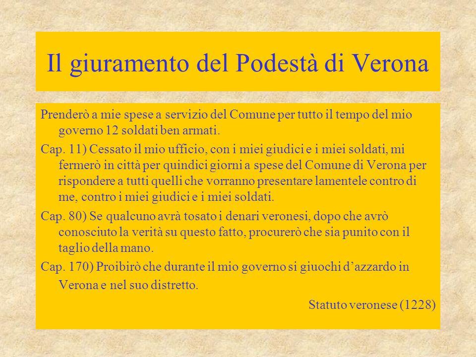 Il giuramento del Podestà di Verona Cap. 1) Giuro che pacificherò tutte le discordie che vi sono o saranno in Verona e nel suo territorio; che non sar