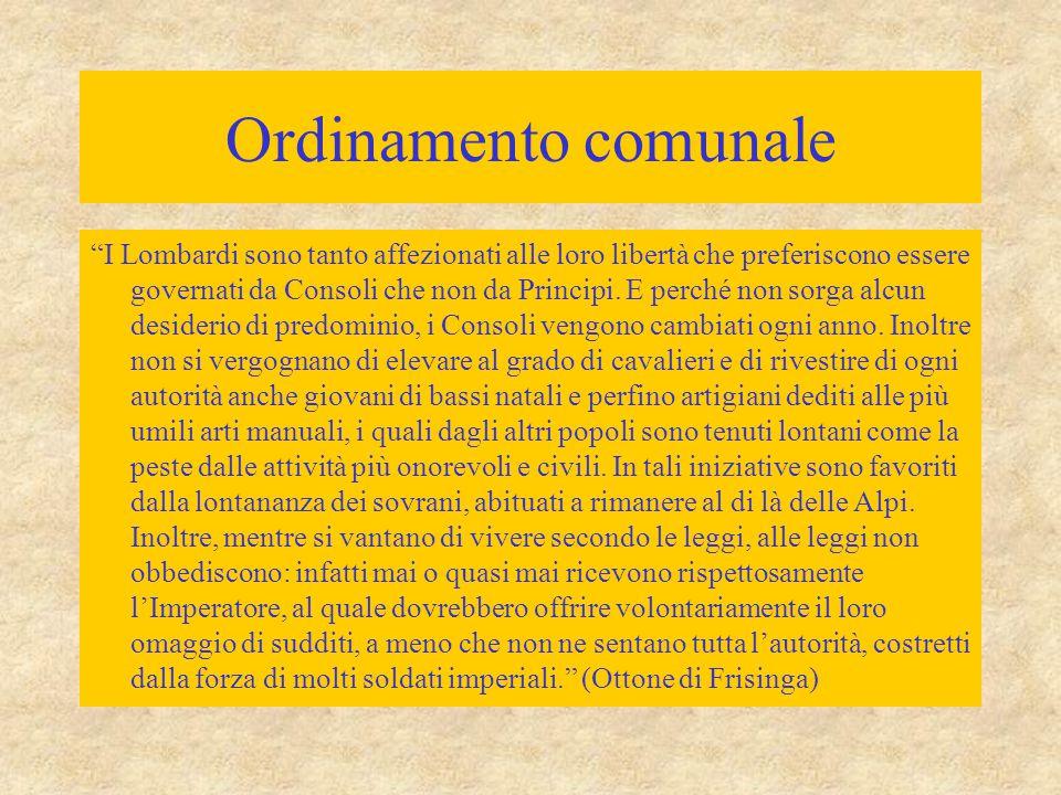 Ordinamento comunale I Lombardi sono tanto affezionati alle loro libertà che preferiscono essere governati da Consoli che non da Principi.