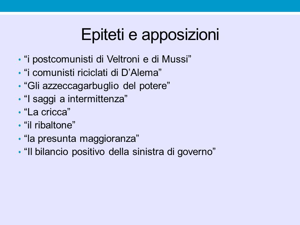 """Epiteti e apposizioni """"i postcomunisti di Veltroni e di Mussi"""" """"i comunisti riciclati di D'Alema"""" """"Gli azzeccagarbuglio del potere"""" """"I saggi a intermi"""