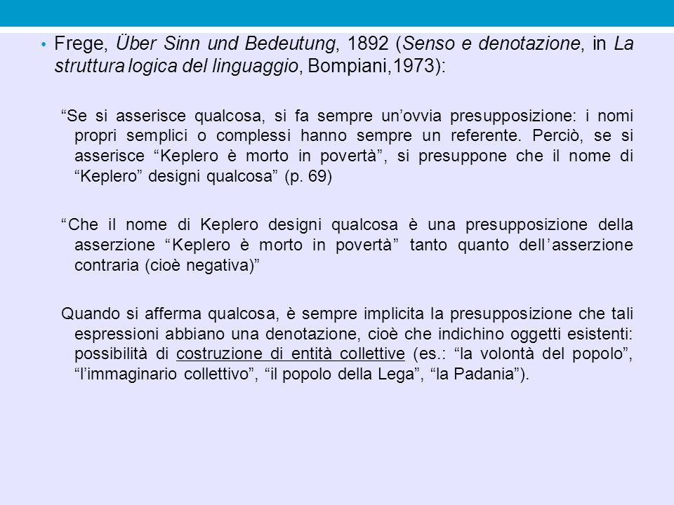 """Frege, Über Sinn und Bedeutung, 1892 (Senso e denotazione, in La struttura logica del linguaggio, Bompiani,1973): """"Se si asserisce qualcosa, si fa sem"""