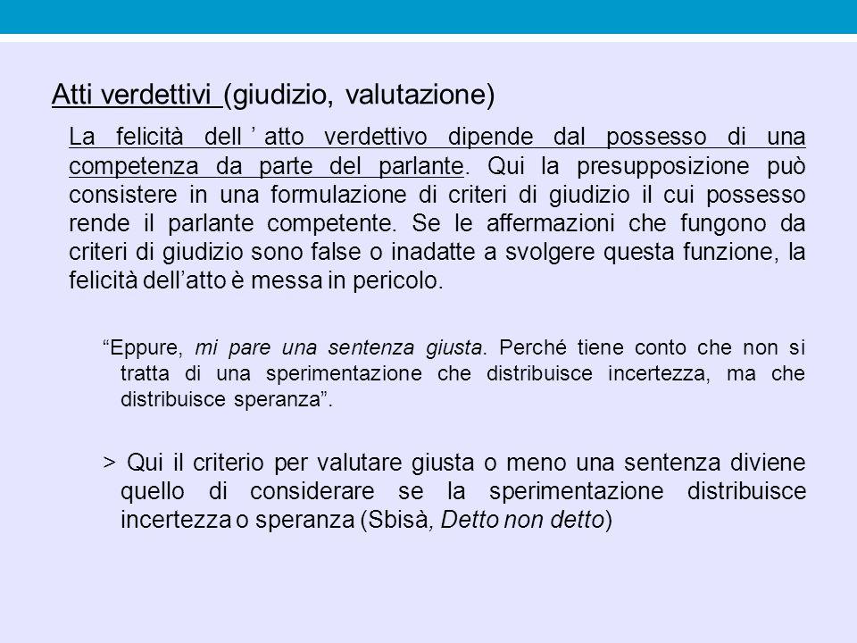 Atti verdettivi (giudizio, valutazione) La felicità dell'atto verdettivo dipende dal possesso di una competenza da parte del parlante. Qui la presuppo