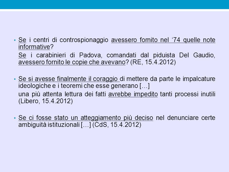Se i centri di controspionaggio avessero fornito nel '74 quelle note informative? Se i carabinieri di Padova, comandati dal piduista Del Gaudio, avess