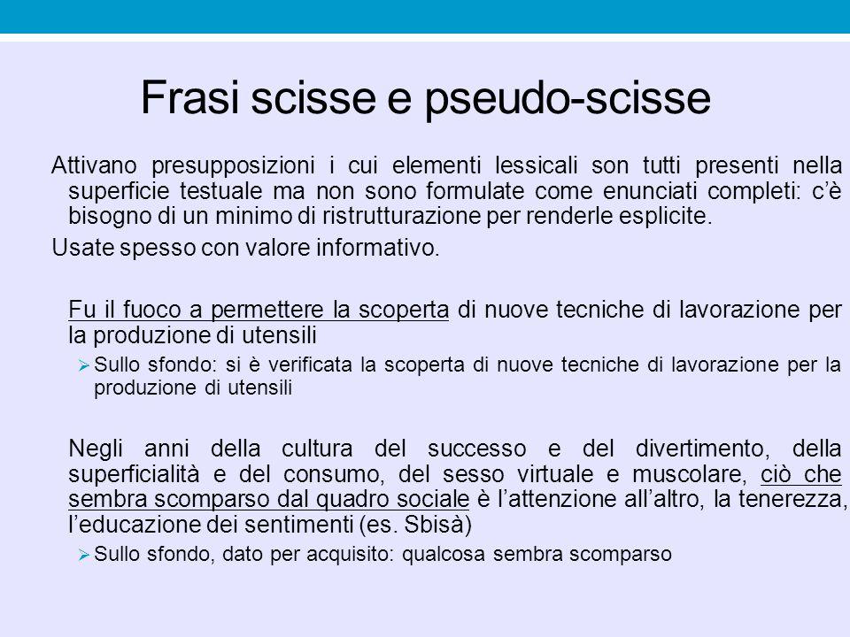 Frasi scisse e pseudo-scisse Attivano presupposizioni i cui elementi lessicali son tutti presenti nella superficie testuale ma non sono formulate come