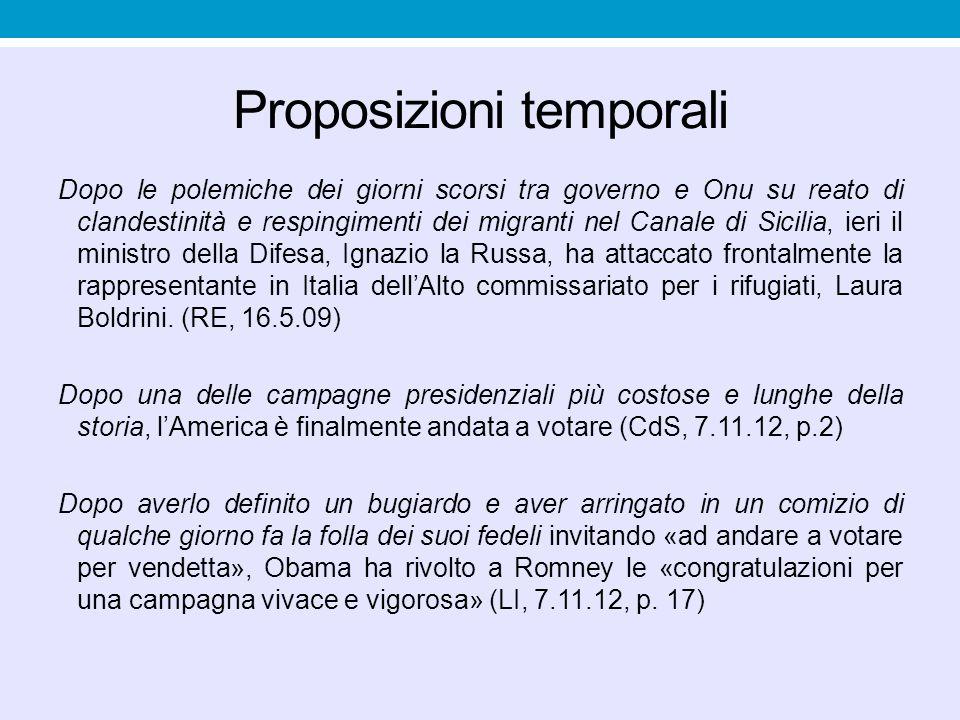 Proposizioni temporali Dopo le polemiche dei giorni scorsi tra governo e Onu su reato di clandestinità e respingimenti dei migranti nel Canale di Sici