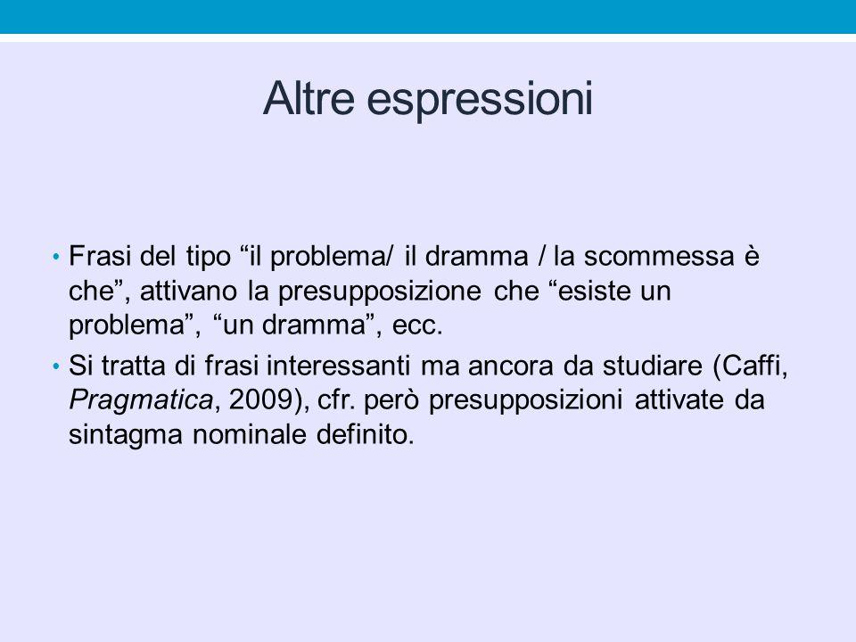 """Altre espressioni Frasi del tipo """"il problema/ il dramma / la scommessa è che"""", attivano la presupposizione che """"esiste un problema"""", """"un dramma"""", ecc"""