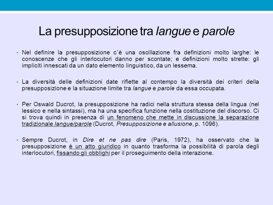 La presupposizione tra langue e parole Nel definire la presupposizione c'è una oscillazione fra definizioni molto larghe: le conoscenze che gli interl