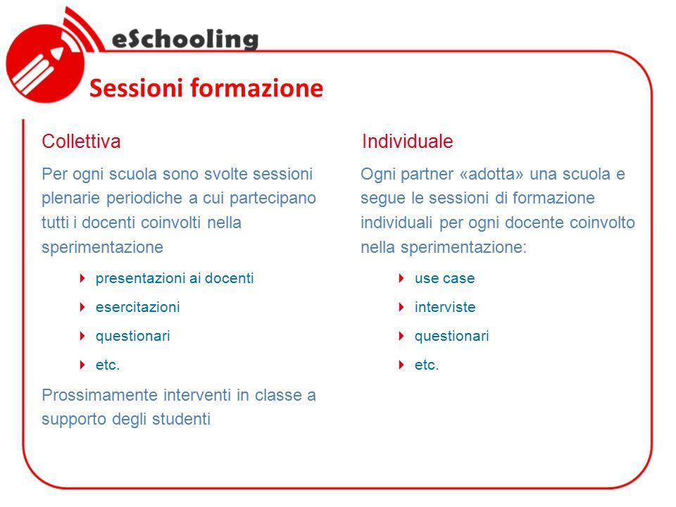 Sessioni formazione Per ogni scuola sono svolte sessioni plenarie periodiche a cui partecipano tutti i docenti coinvolti nella sperimentazione  presentazioni ai docenti  esercitazioni  questionari  etc.