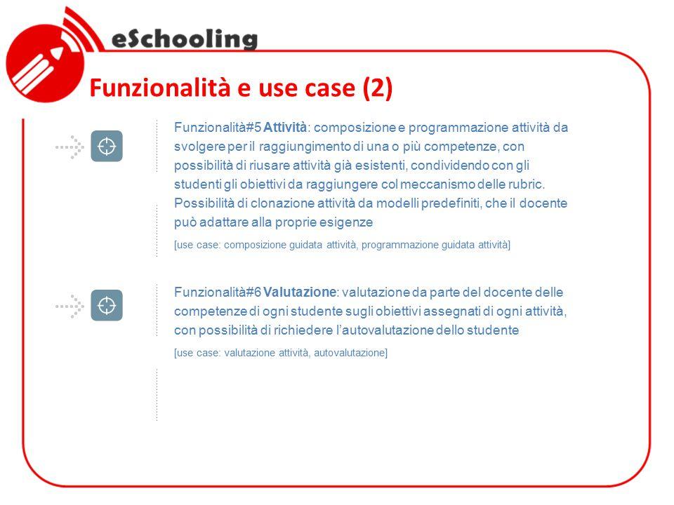 Funzionalità e use case (2) Funzionalità#5 Attività: composizione e programmazione attività da svolgere per il raggiungimento di una o più competenze,